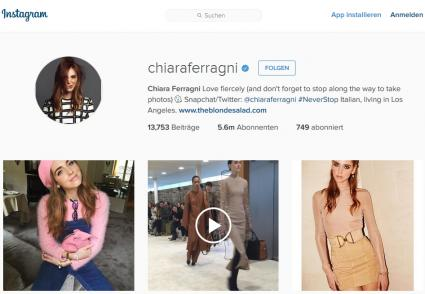 Instragram Influencer Person Chiara Ferragni